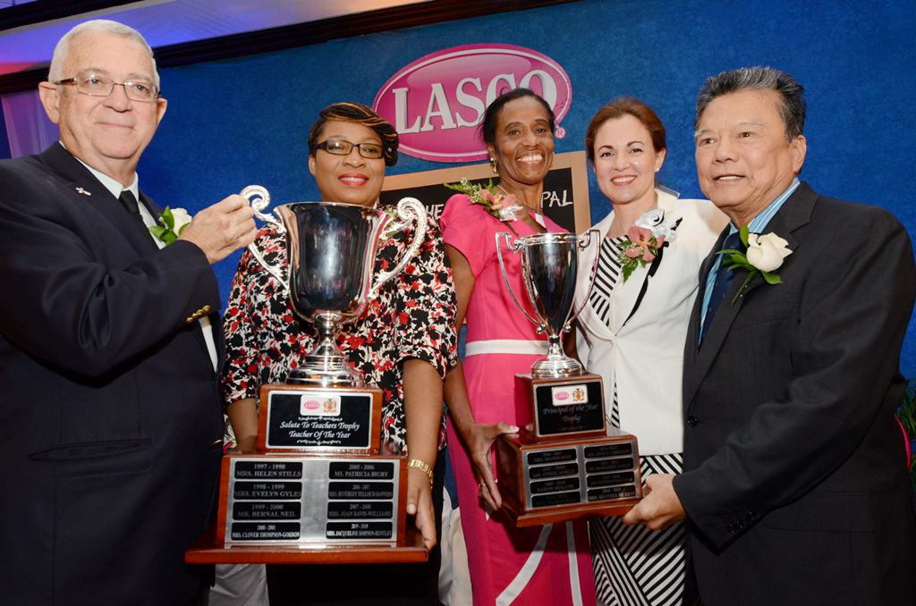 (L-R) Hon. Rev. Ronald Thwaites, Minister of Education, Anieta Bailey, Teacher of the Year, Heather Murray, Principal of the Year, Dr. Eileen Chin, Managing Director, LASCO Manufacturing Ltd., and Hon. Lascelles Chin, Executive Chairman, LASCO Affiliated Companies.