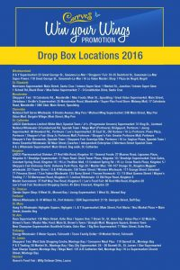 Win Your Wings Promotion Drop Boxes Location